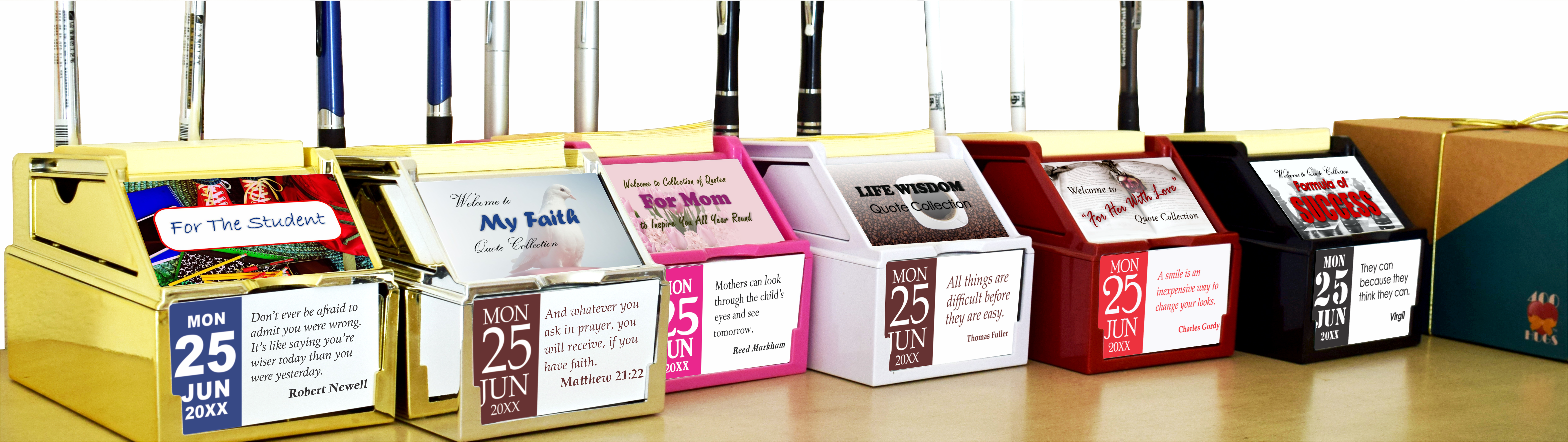 Inspirational Tabletop Organizers with refillable calendar